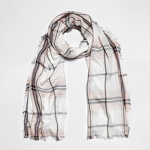 Cream check lurex scarf