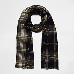 Black check lurex scarf