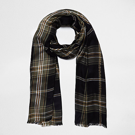 Black check lurex scarf