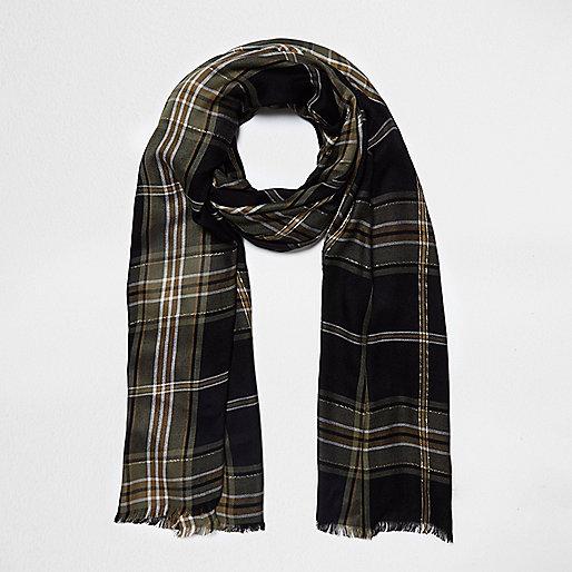 Zwarte geruite lurex sjaal