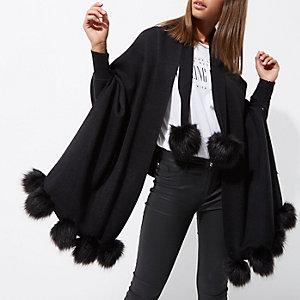 Black pom pom knit longline cardigan