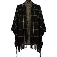 Black check tassel trim cardigan
