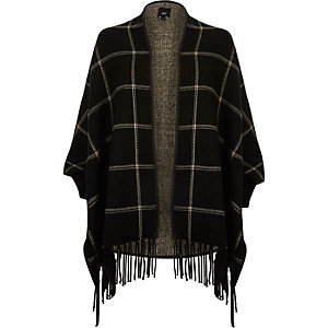 Black check tassel trim cape