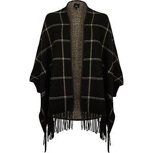 Black check tassel trim cape