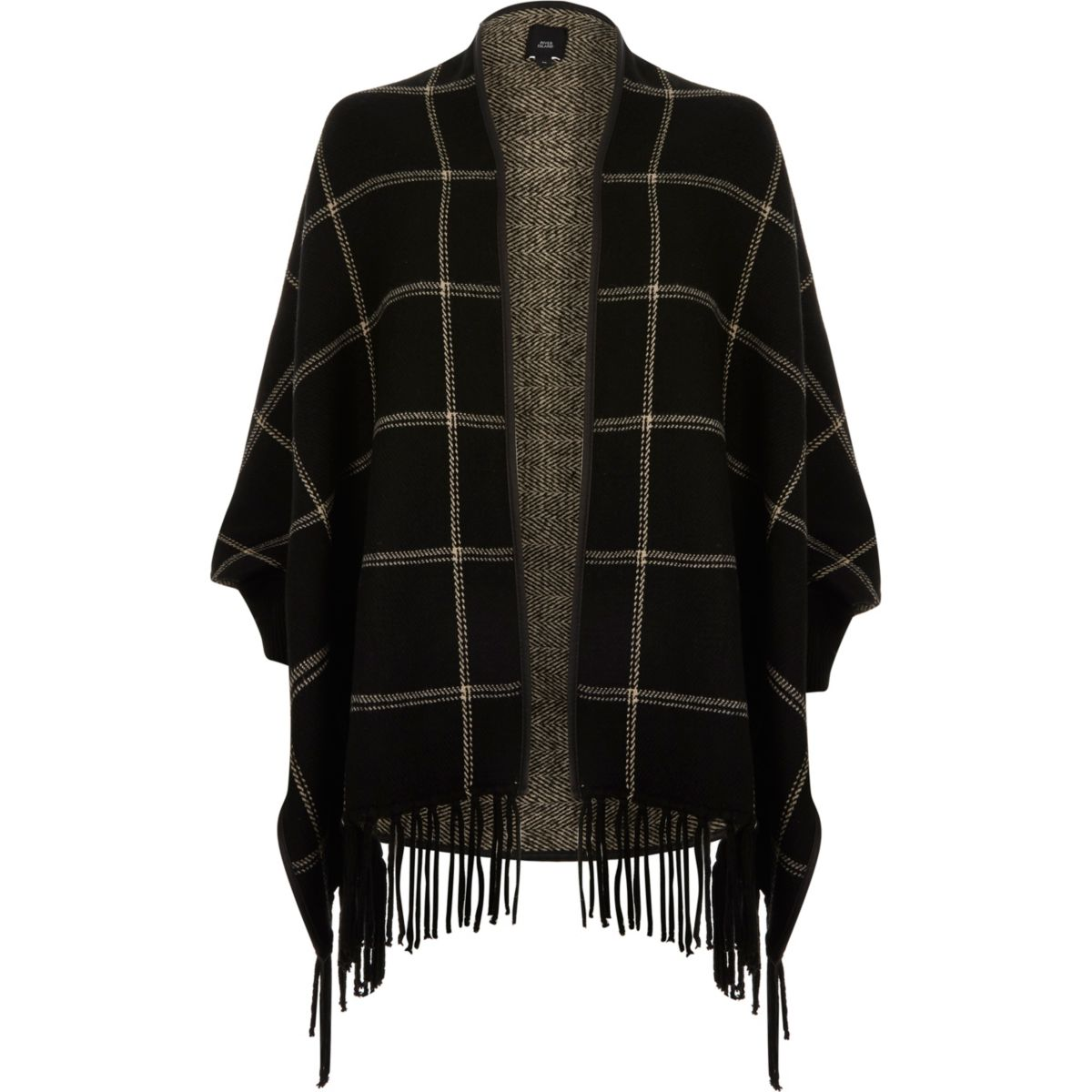 Black check tassel trim cardigan