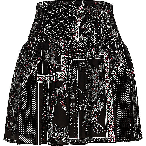 Black scarf print shirred waist mini skirt