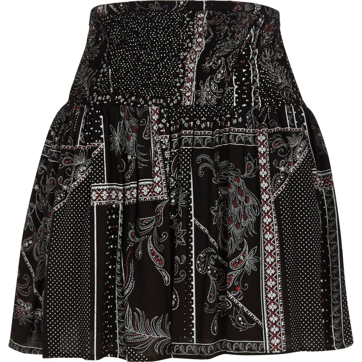 Black scarf print shirred waist mini skirt