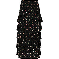 Black ditsy floral print tiered maxi skirt