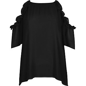 Black frill cold shoulder top