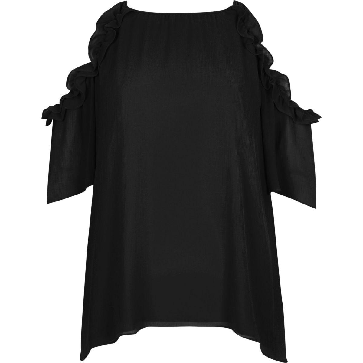 Top noir à épaules dénudées à volants