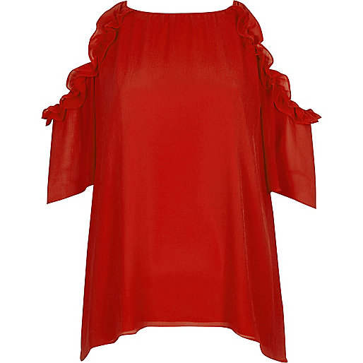 Red frill cold shoulder top