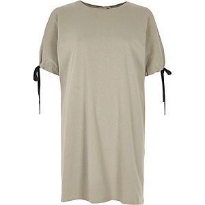 Khaki green tie cuff longline T-shirt