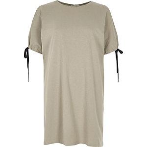 Kakigroen lang T-shirt met strikjes aan de manchetten