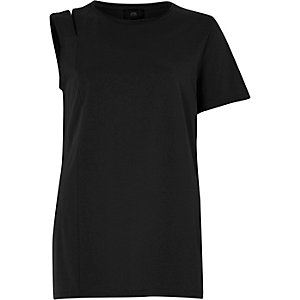 Black one shoulder slashed T-shirt