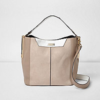 Beige and white slouch underarm bag