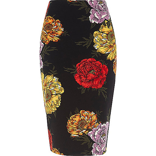 Black floral print pencil skirt