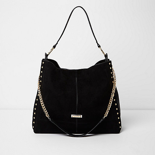 Black studded oversized slouch chain bag