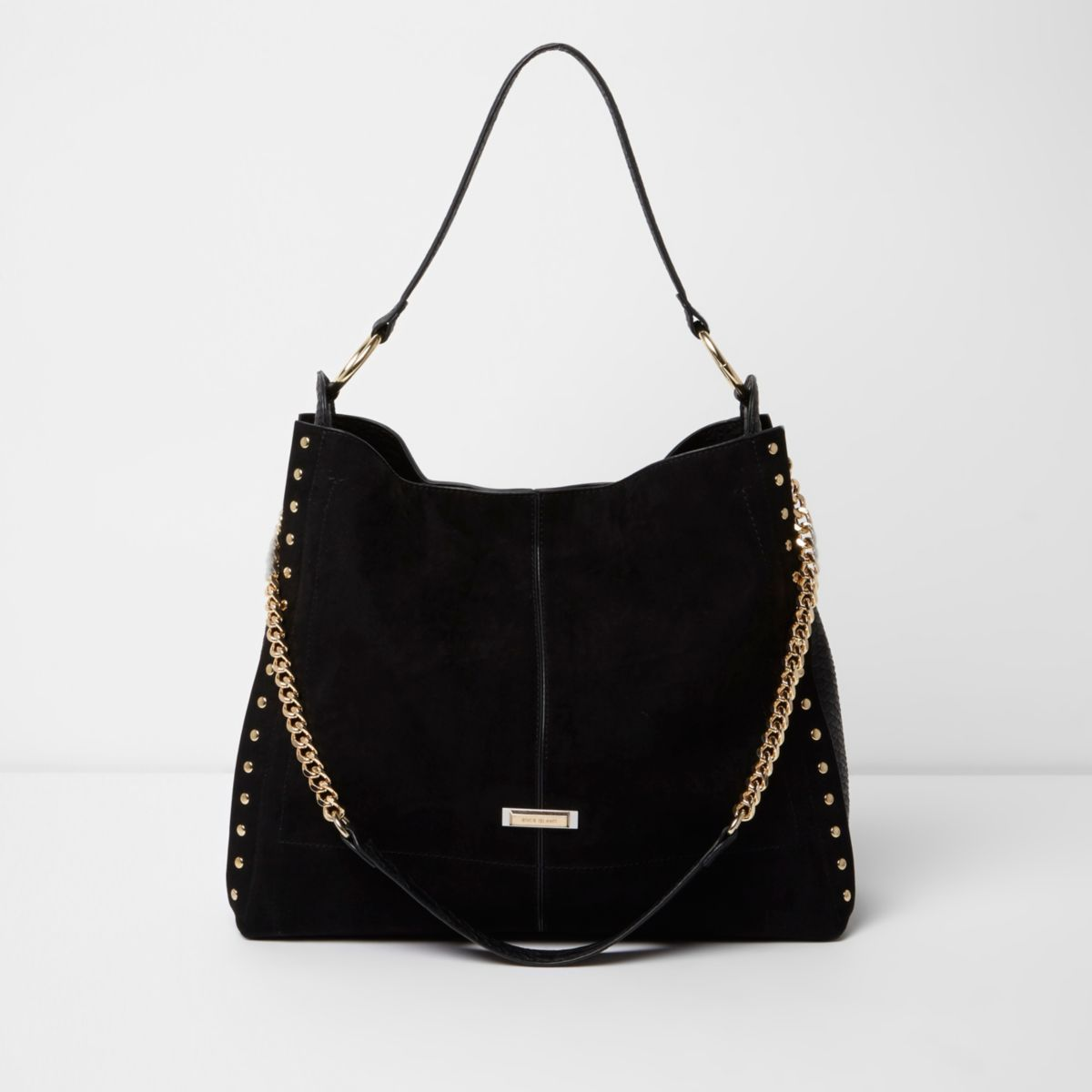 Black studded oversized slouch chain bag