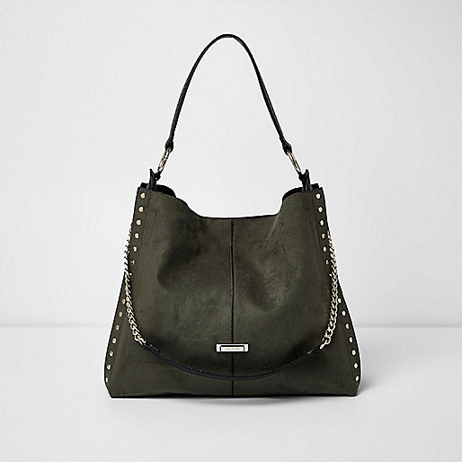 Khaki green studded oversized slouch bag