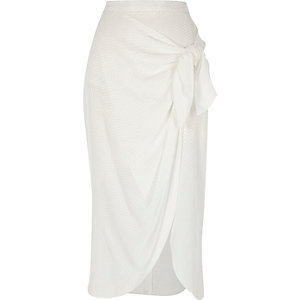 White wrap front tie side midi skirt