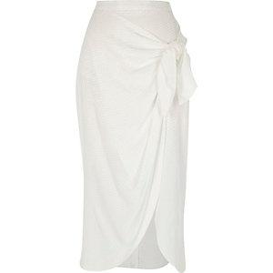 Jupe portefeuille mi-longue blanche nouée
