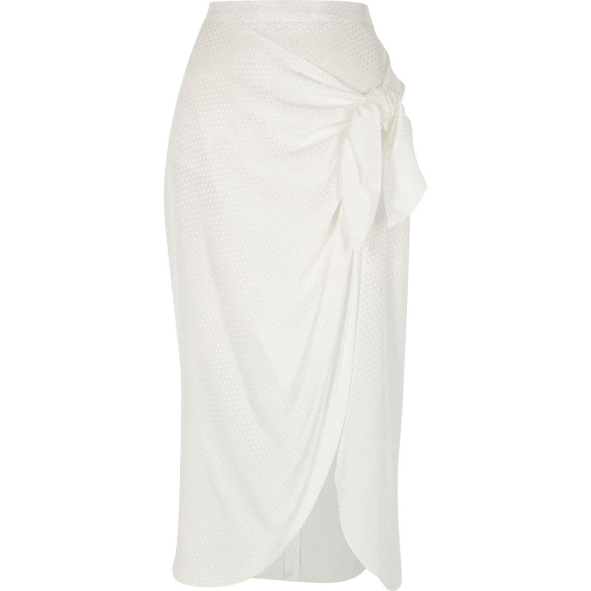White wrap front tie side midi skirt