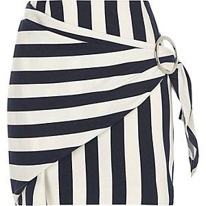 Navy stripe print buckle wrap mini skirt