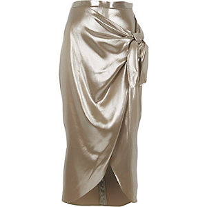 Silver metallic tie front wrap skirt
