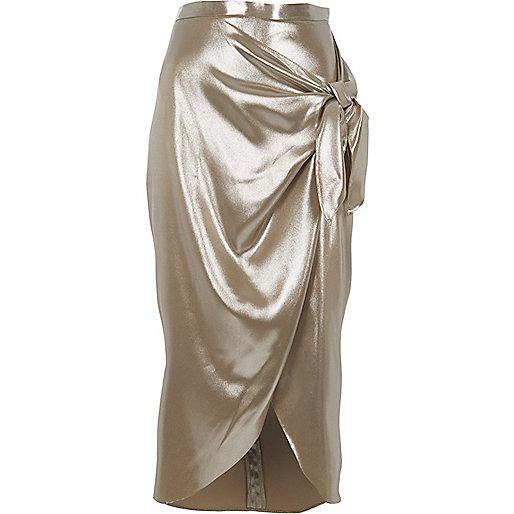 Silver metallic tie front wrap skirt