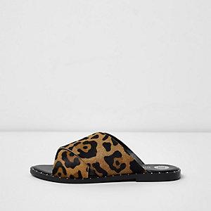 Beige leopard print cross strap studded mules