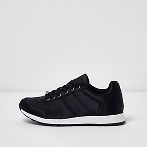Navy satin runner sneakers