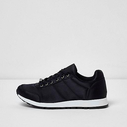 Navy satin runner sneakers