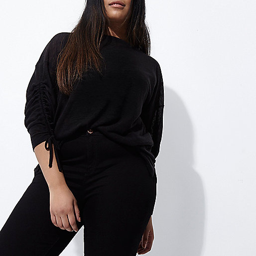 Plus black ruched sleeve top