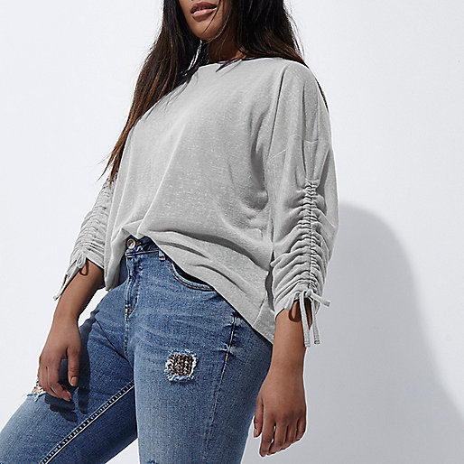 Plus grey ruched sleeve top