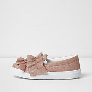 Gold glitter ruffle slip on plimsolls