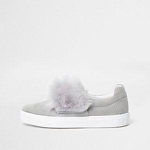 Grey faux fur slip on plimsolls