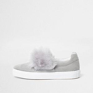 Grey fluffy slip on plimsolls