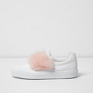 White fluffy slip on plimsolls