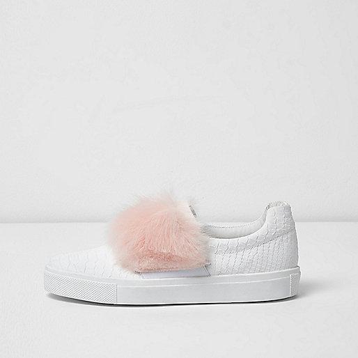 White fluffy slip on plimsolls