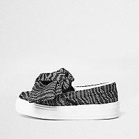 Black contrast print slip on plimsolls