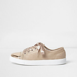 Metallic lichtroze vetersneakers met teenstuk
