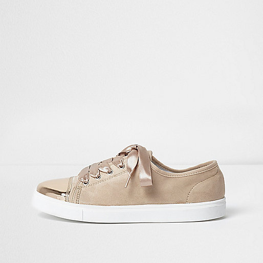 Light pink metallic toecap lace-up trainers