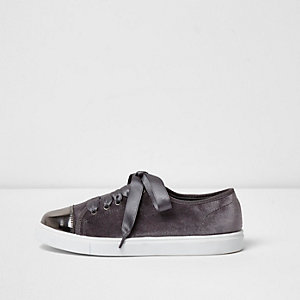 Grey velvet lace-up ribbon trainers