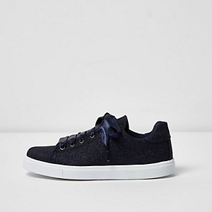 Navy glitter lace-up trainers