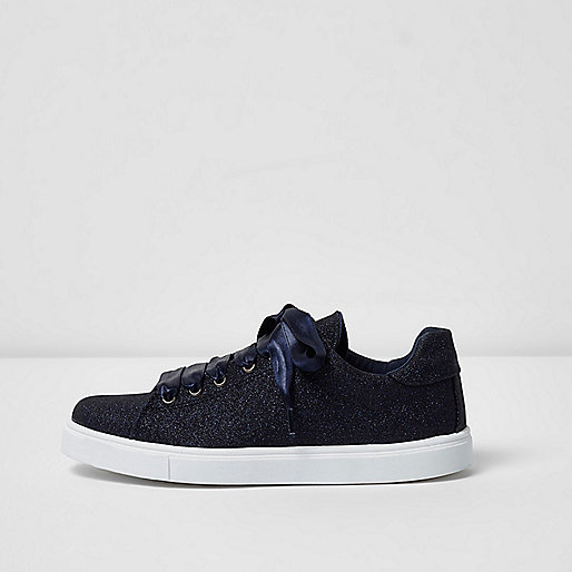 Navy glitter lace-up sneakers
