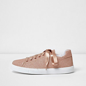 Gold glitter lace-up ribbon sneakers
