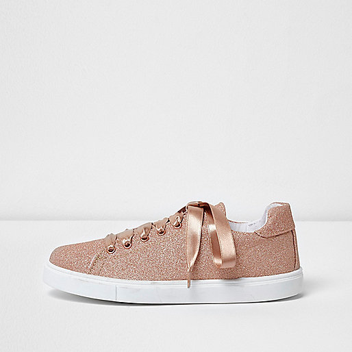 Gold glitter lace-up ribbon trainers
