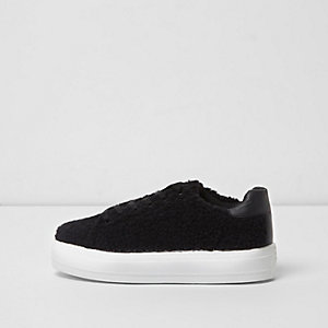 Black borg lace-up trainers