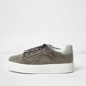 Grey fleece lace-up flatform sneakers