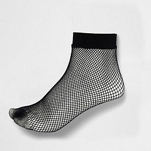 Schwarze Sneakersocken in Fischnetzoptik
